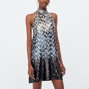 Zara sequin halter dress